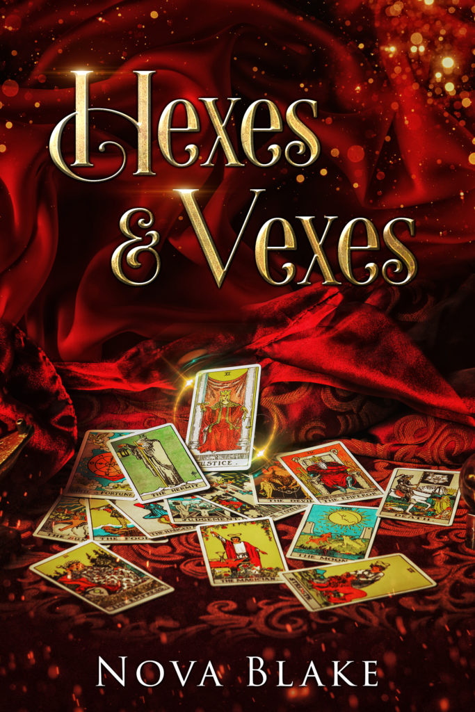 book cover for hexes & vexes, red velvet background, gold font, with tarot cards